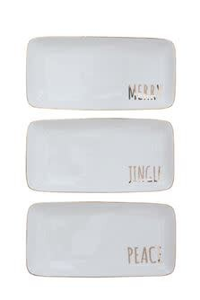 Fleurish Home Holiday Platter w Gold Electroplate Word (3 styles)