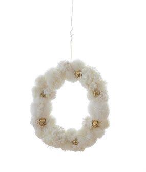 Cream Pom Pom Wreath