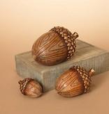 Lg Wood Grain Acorn Decor