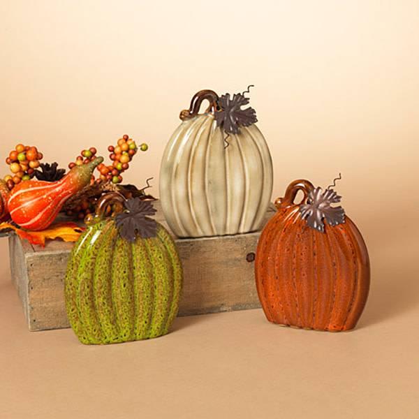 Sm Flat Ceramic Pumpkin (3 asst)
