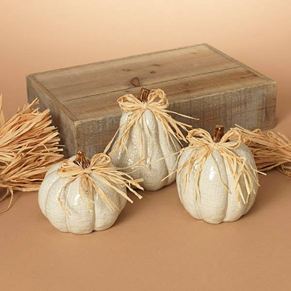 Ceramic Pumpkin w Raffia (3 styles)