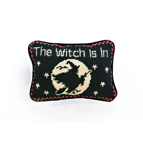 The Witch Is In Needlepoint Pillow Door Hanger