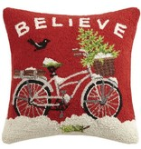 Fleurish Home Believe Snowy Bicycle Hooked Pillow
