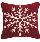 Red & White Snowflake Hook Pillow 16x16