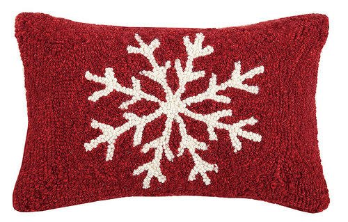 Fleurish Home Snowflake Hook Pillow 8x12 R&W