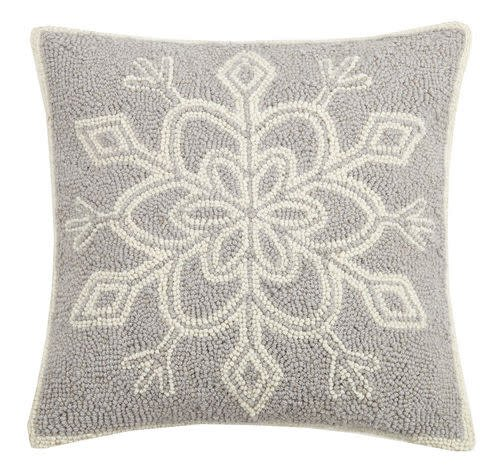 Gray & White Snowflake Hook Pillow 16x16