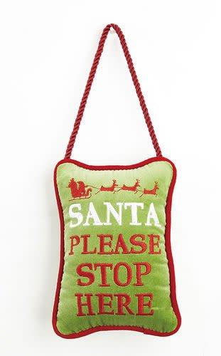 Fleurish Home Santa Please Stop Here Velvet Door Hanger Pillow