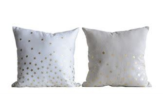 Natural Pillow w Gold Dots