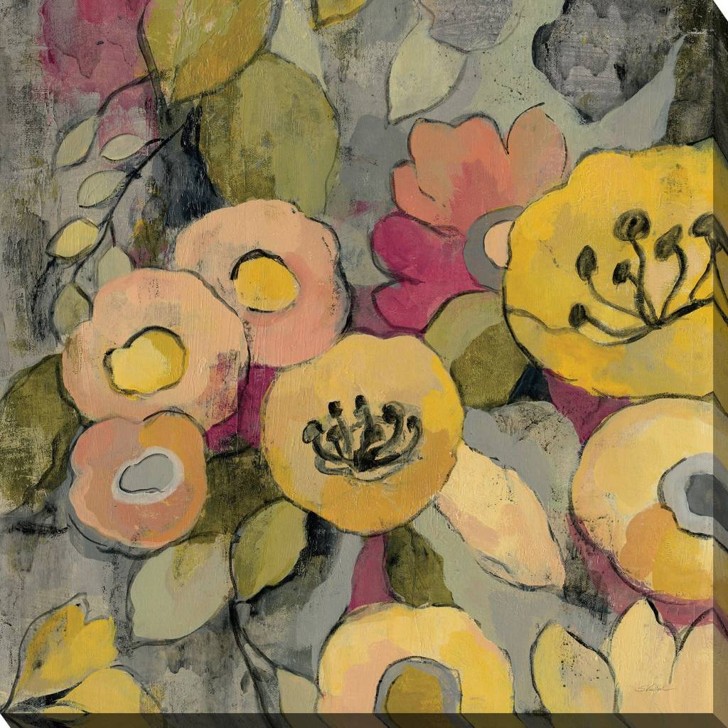Fleurish Home Yellow Floral Duo II 24x24