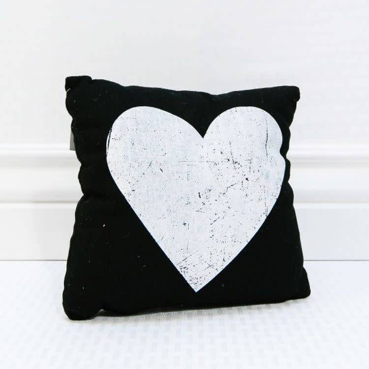 Black & White Heart Pillow