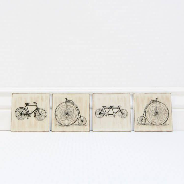 Bicycle Wood Coaster (4 asst)