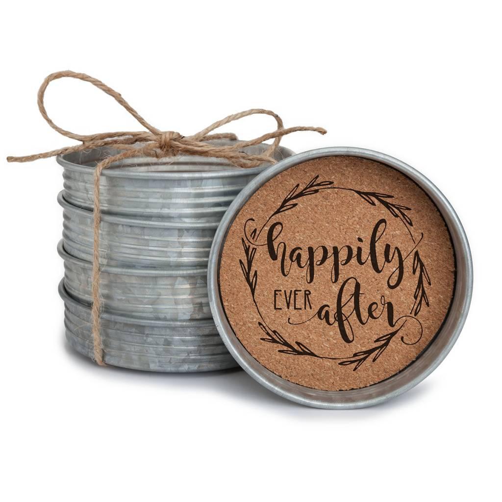 Mason Jar Lid Coaster Set Happily Ever After