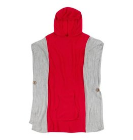 Fleurish Home Gameday Hooded Poncho Red & Grey O/S