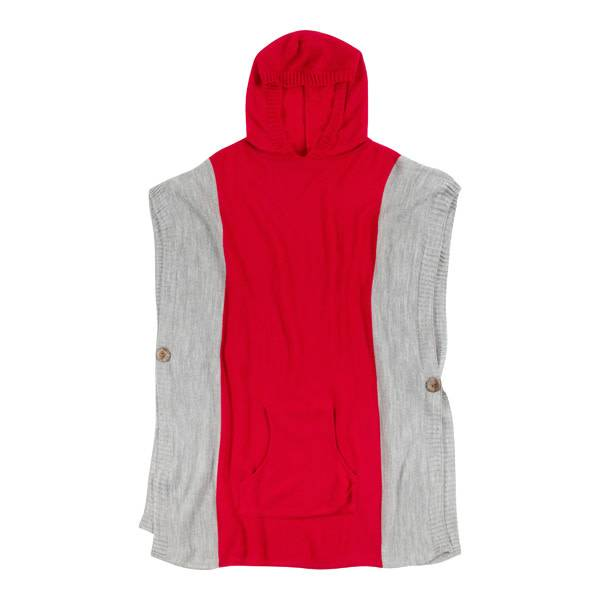 Gameday Hooded Poncho Red & Grey O/S
