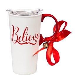 Fleurish Home Believe Holiday Ceramic Travel Mug w Box