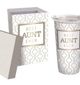 Fleurish Home Best Aunt Ever Ceramic Travel Mug w Box