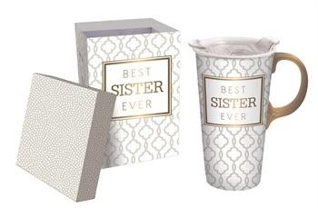 Best Sister Ever Ceramic Travel Mug w Box