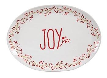 Holiday Farmhouse Ceramic Joy Platter