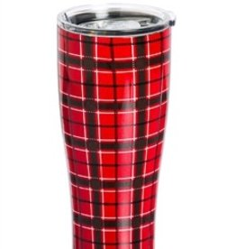 Red Plaid Stainless Steel Beverage Cup