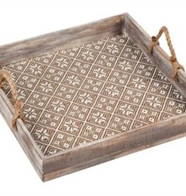 Wooden Patterned Square Tray