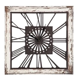 Distressed White Wood Square Clock