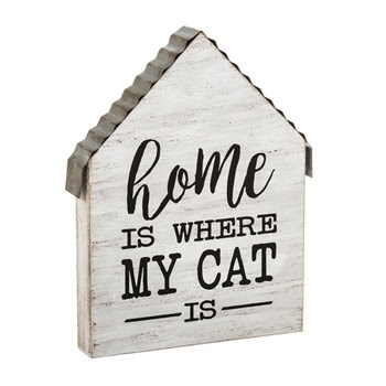 Home is Where My Cat Is Wooden Block