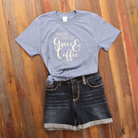 Grace & Coffee Quote Tee
