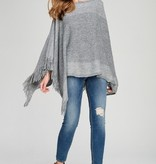 Fleurish Home Gray Fringe Hem Lurex Poncho O/S