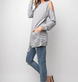 Fleurish Home GRAY COLD SHOULDER HACCI KNIT LONG SLEEVE TEE