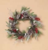 Fleurish Home Holiday Frosted Pine Wreath w Pinecones & Berries