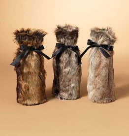 Fleurish Home Faux Fur Wine Bottle Bag (choice of 3 colors)