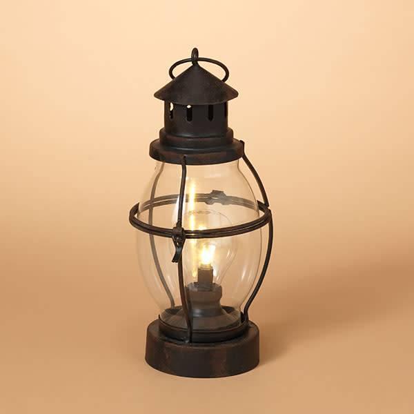 Fleurish Home B/O Lighted Metal & Rounded Glass Lantern Lamp