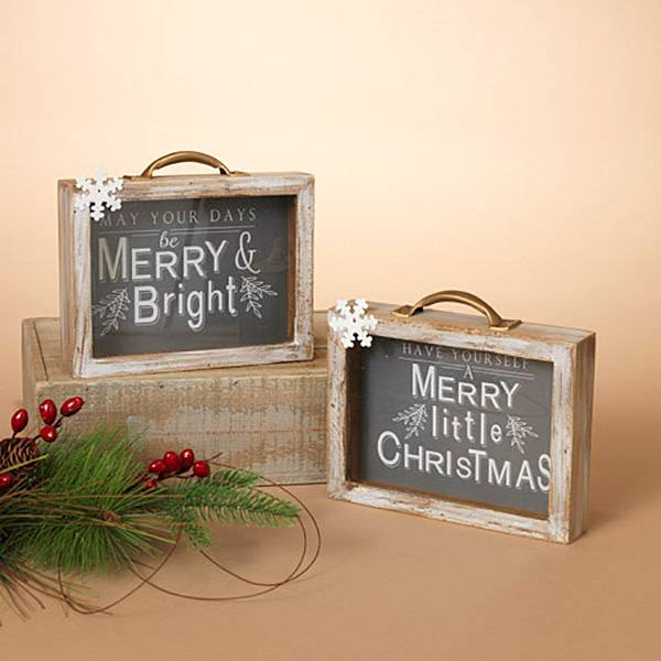 "Fleurish Home Holiday Wood Suitcase Table Decor 8"" (choice of 2 styles)"