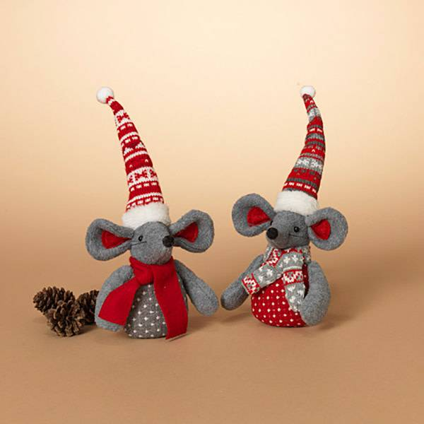 """Fleurish Home Holiday Mouse 11"""" H (choice of 2 styles)"""