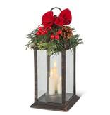 B/O Candle Trio Lantern with Holiday Greenery