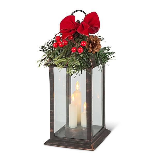 Fleurish Home B/O Candle Trio Lantern with Holiday Greenery