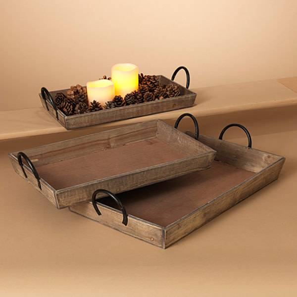 Fleurish Home Med Rectangular Wood Tray w Metal Handles