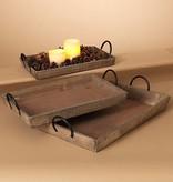 Fleurish Home Lg Rectangular Wood Tray w Metal Handles