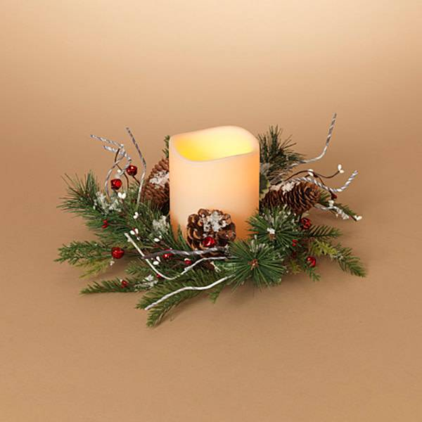 """Holiday Frosted Pine Mini-Wreath Candle Ring 16"""""""