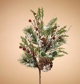 "Holiday Frosted Pine Pick with Berries & Pinecones 30""H"