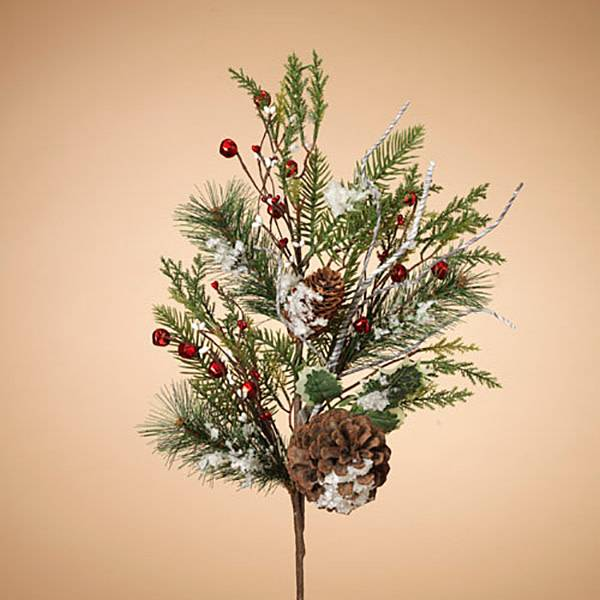 "Fleurish Home Holiday Frosted Pine Pick with Berries & Pinecones 30""H"