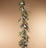 Holiday Frosted Pine Garland with Berries & Pinecones