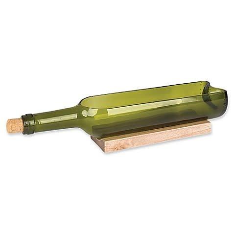 Wine Bottle Dip Bowl on Wood Boat