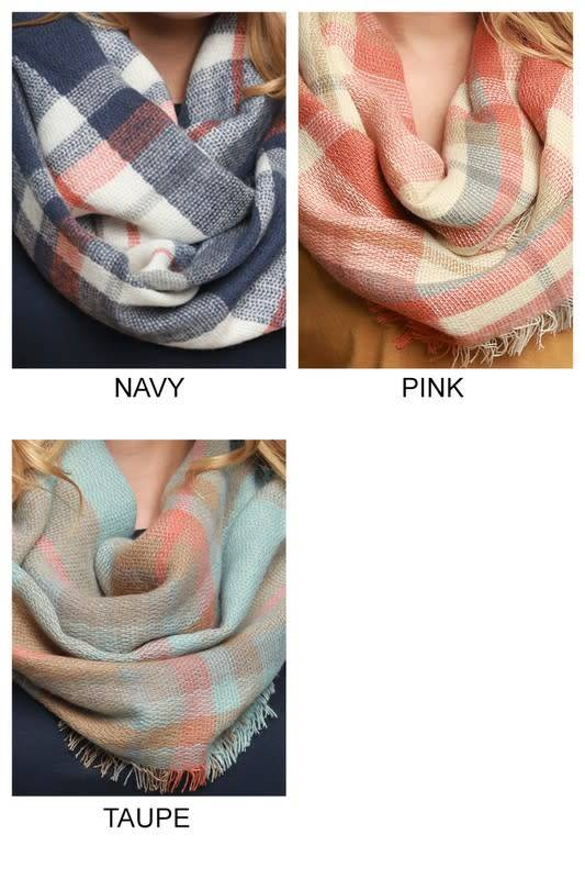 Fleurish Home Pastel Plaid Infinity Scarf
