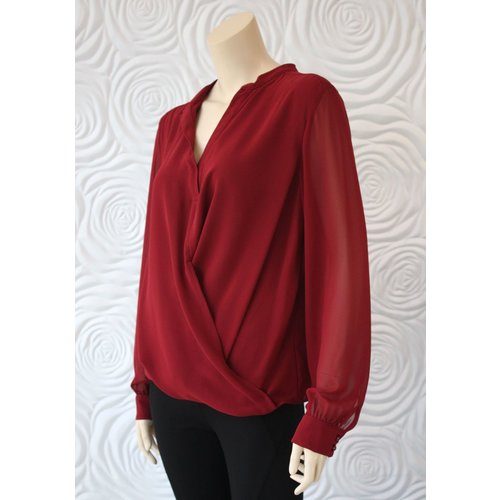 Weill Weill Crossbody Blouse with Sheer Sleeve