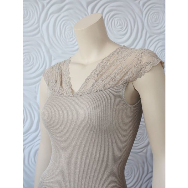Rosemunde Silk regular Top with Lurex and Lace