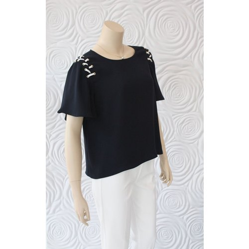Weill Weill Blouse  Lace Up Shoulder