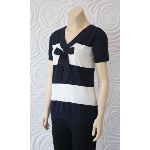 Leo Ugo Stripe Shirt With Bow Detail