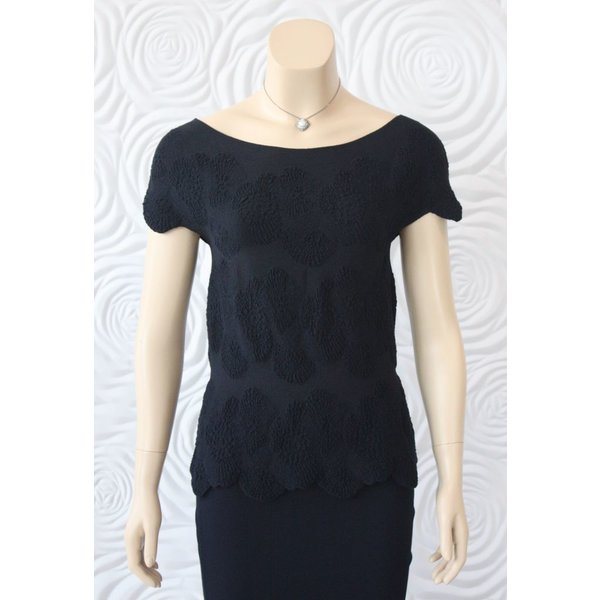 D Exterior Embroidered Peplum Top
