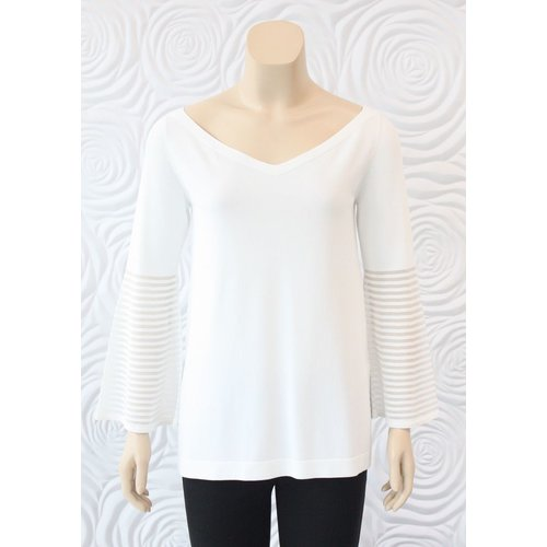 D Exterior D Exterior V-neck Knit with Mesh Sleeve